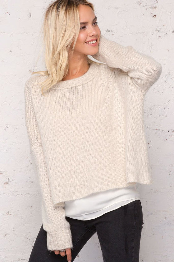 Women's Cropped Boyfriend Crewneck Lightweight Sweater | Wooden Ships Knits