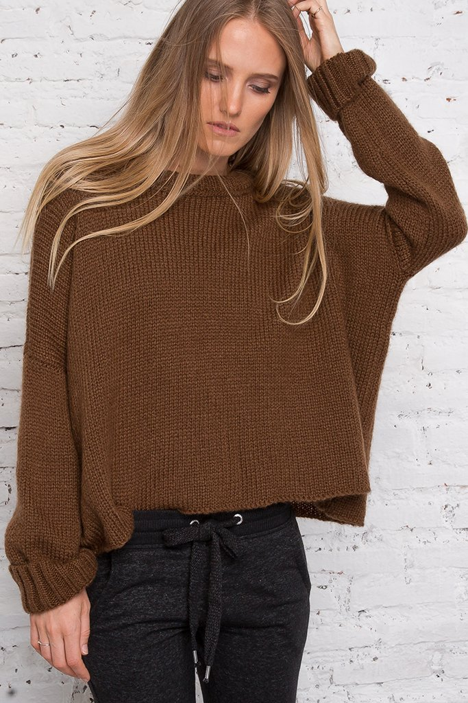 Women's Cropped Boyfriend Crewneck Sweater's | Wooden Ships Knits