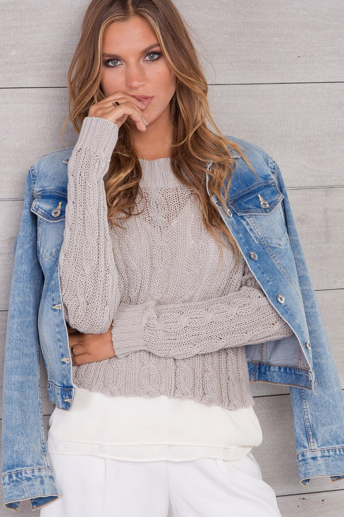 Women's Cropped Jax Cable Top Cotton Sweater | Wooden Ships Knits