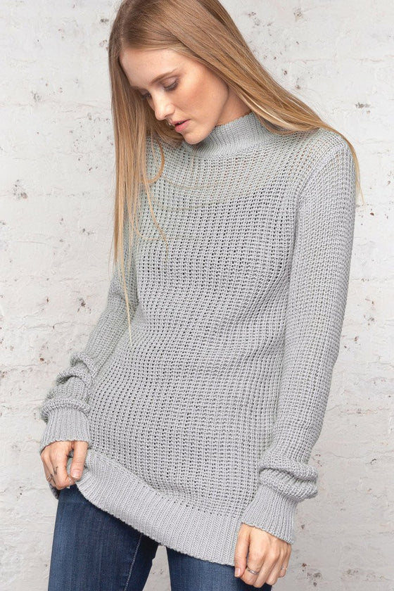 Women's Wylie Rib  T-Neck Cotton Sweater | Wooden Ships Knits