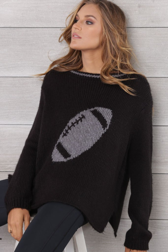 Women's Football Crewneck Cotton Sweater | Wooden Ships Knits