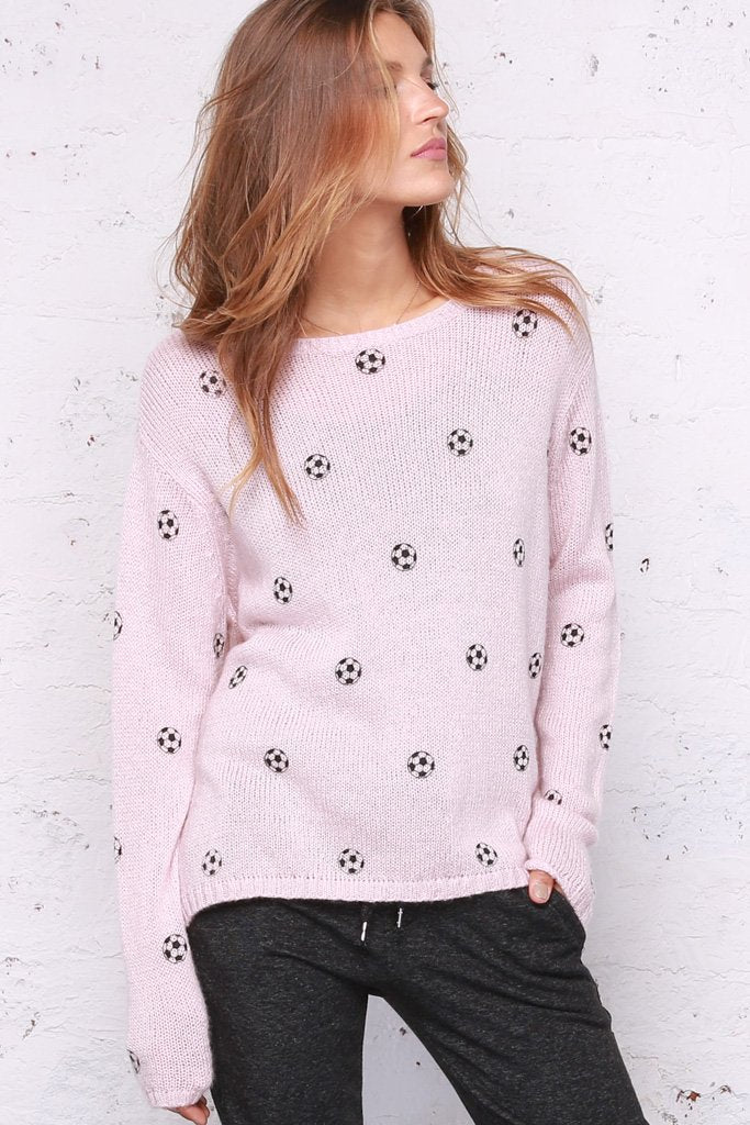 Women's Mini Soccer Ball Crewneck Lightweight Sweater | Wooden Ships Knits