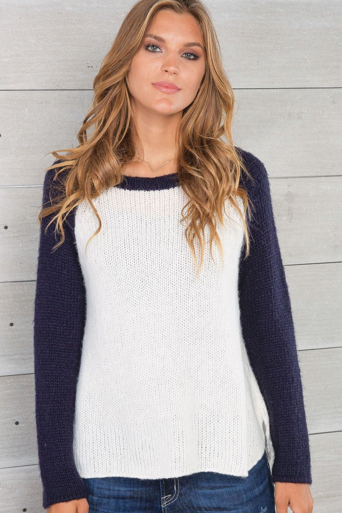 Women's Two-Tone Raglan Lightweight Sweater | Wooden Ships Knits