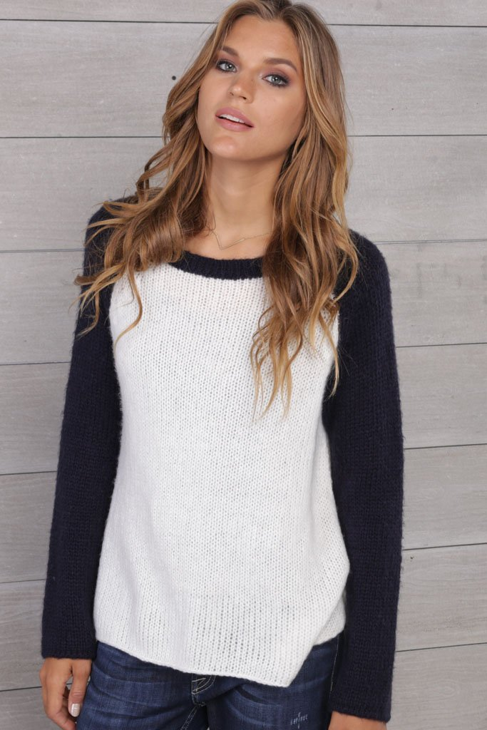 Women's Two-Tone Raglan Cotton  Sweater | Wooden Ships Knits