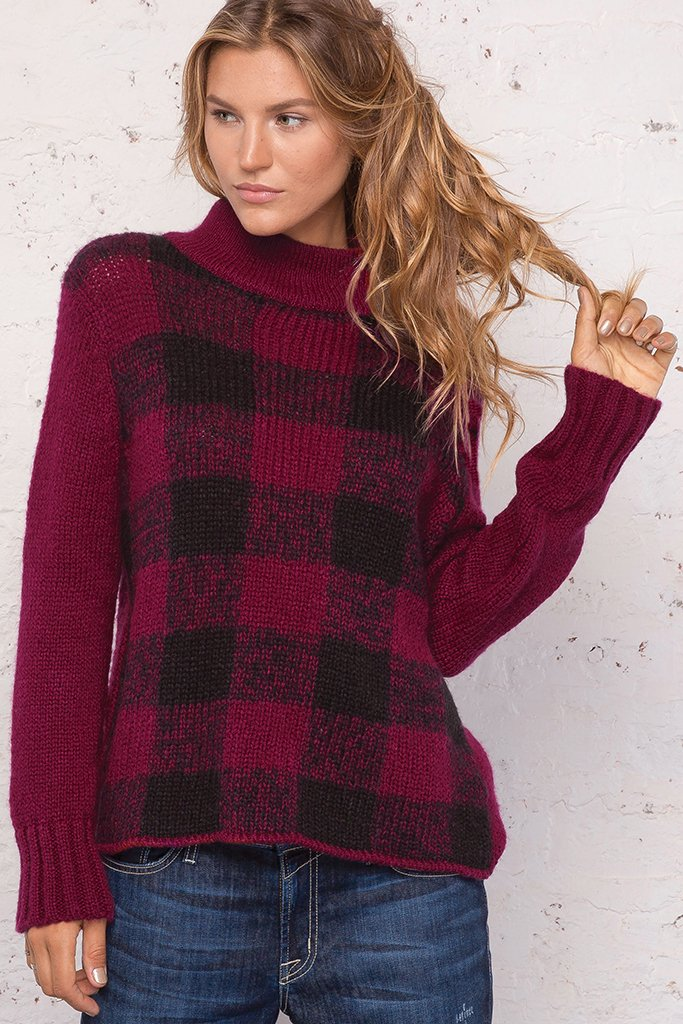 Women's Cate Plaid T-Neck Sweater's | Wooden Ships Knits