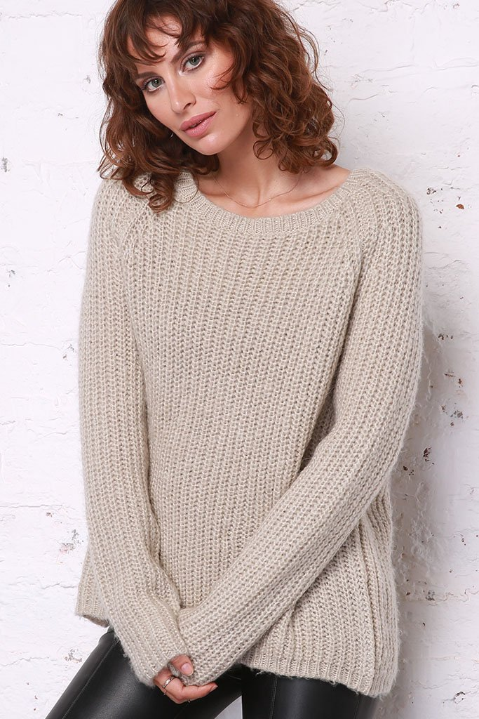 Women's Chunky Ribbed Crew Sweater | Wooden Ships Knits