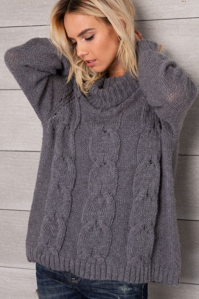 Women's Boyfriend Cable T-Neck Lightweight Sweater | Wooden Ships Knits