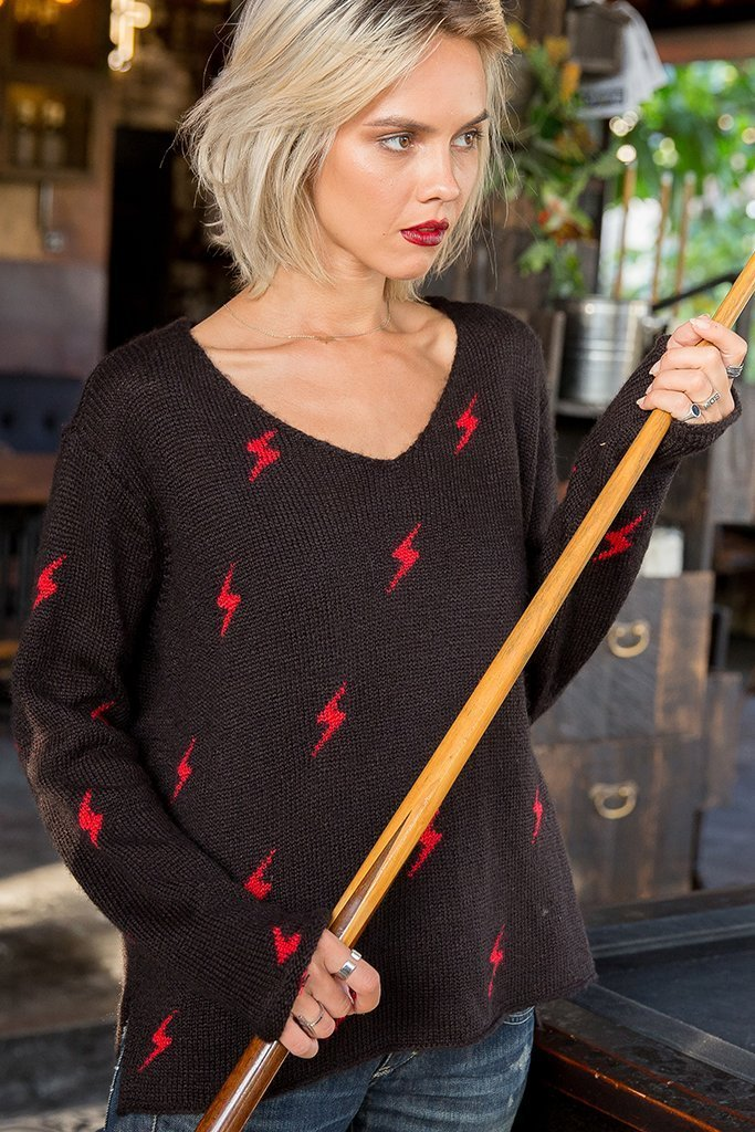 Women's Lightning V-Neck Sweater's | Wooden Ships Knits