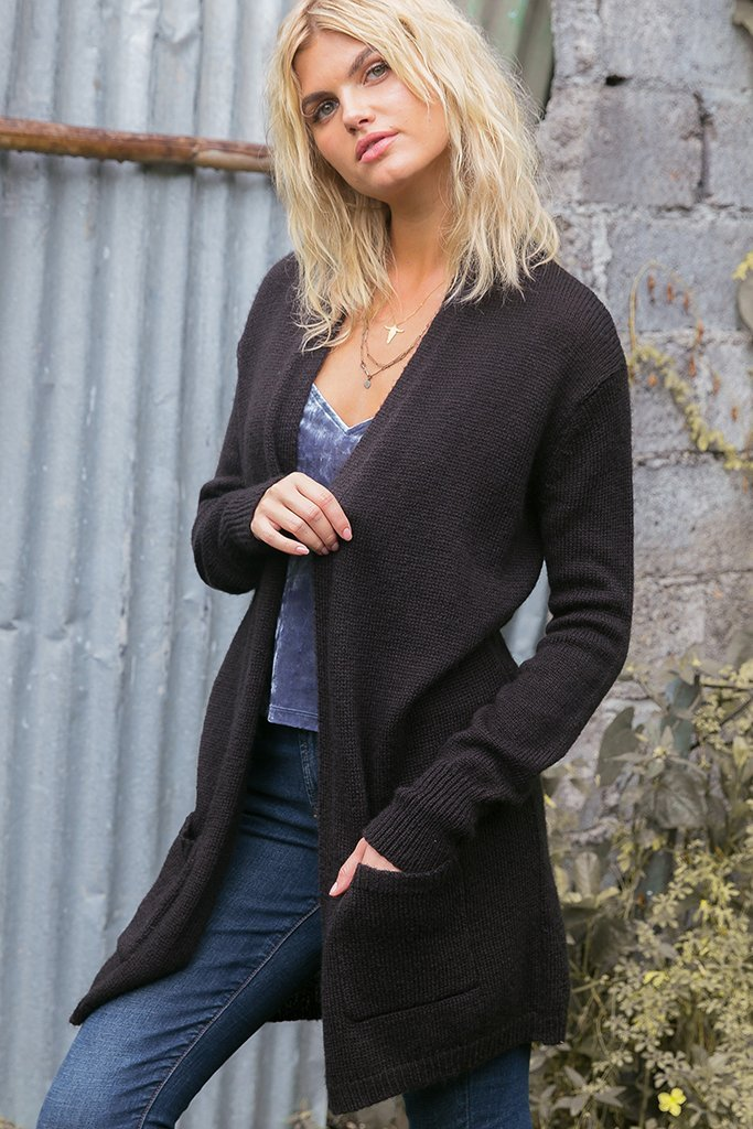 Women's Olivia Long Pocket Cardigan Sweater's | Wooden Ships Knits