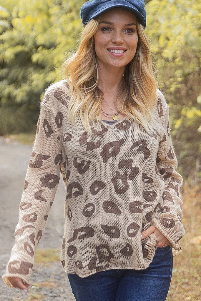 Women's Leopard Shirt Tails V Lightweight Sweater's | Wooden Ships Knits