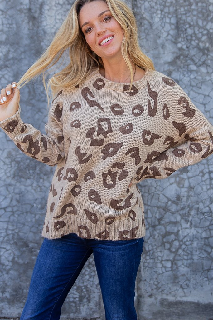 Women's Leopard Crew Chunky Sweater's | Wooden Ships Knits