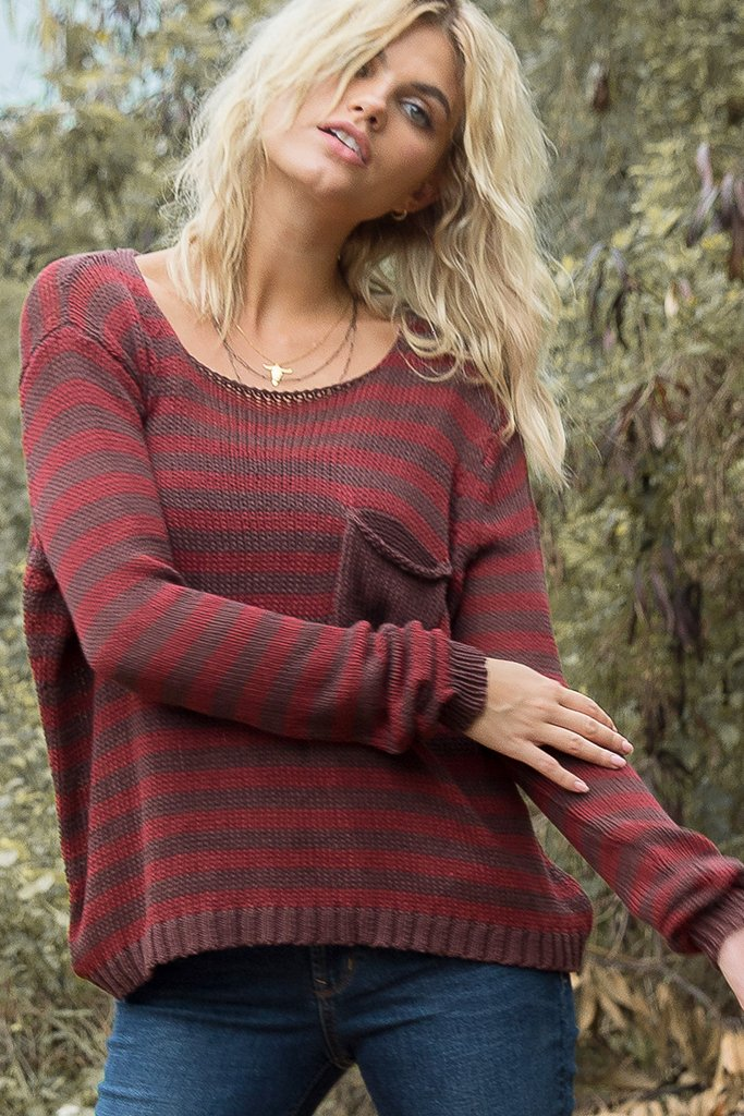 Women's Mulvaney Stripe Crew Cotton Sweater's | Wooden Ships Knits