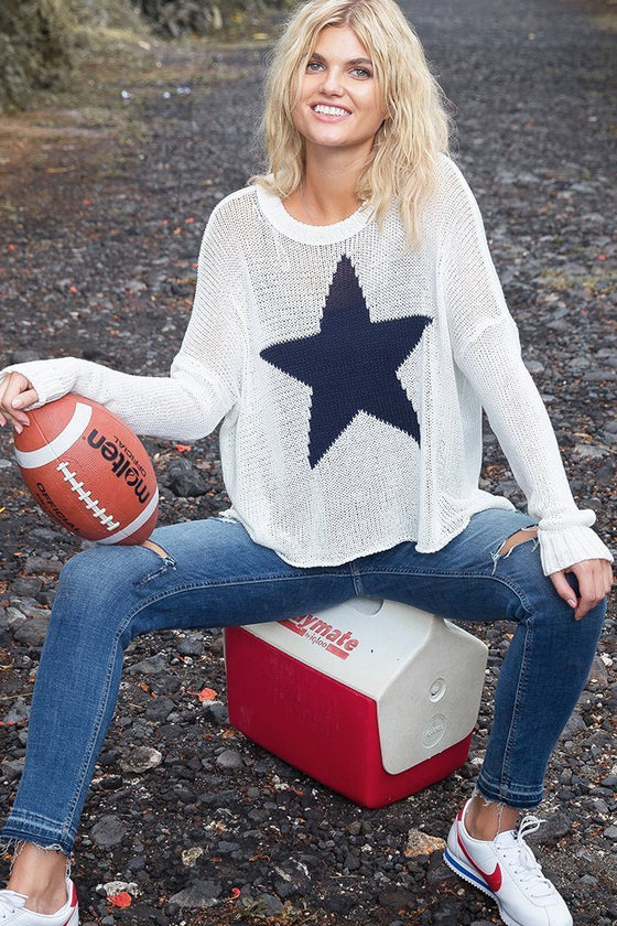 Women's Star Slouchy Crew Cotton Sweater's | Wooden Ships Knits