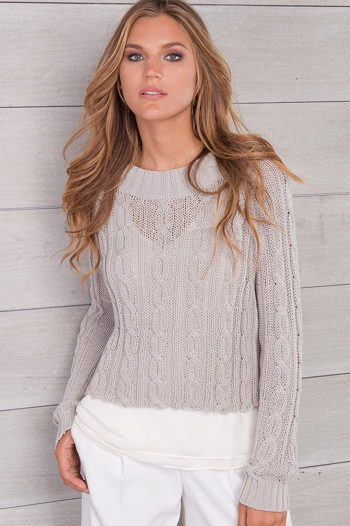 Women's Jax Cropped Cable Cotton Sweater's | Wooden Ships Knits