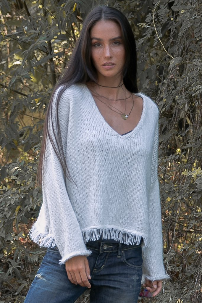 Women's Kaia Fringe V Sweater's | Wooden Ships Knits