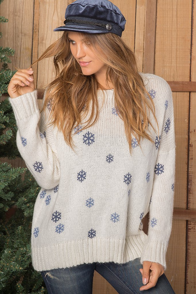 Women's Mini Snowflake Chunky Crew Sweater's | Wooden Ships Knits