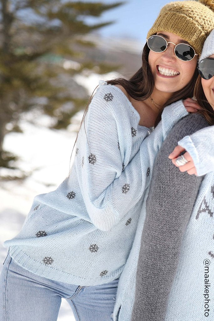 Women's Mini Snowflake V-Neck Sweater's | Wooden Ships Knits