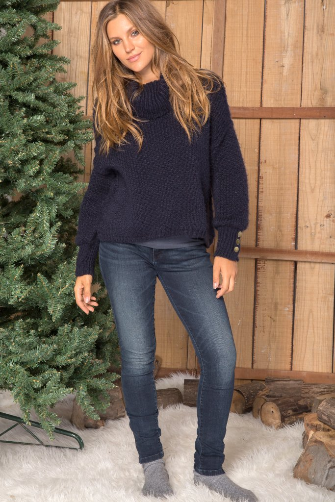 Women's Octavia Button T-Neck  Sweater's | Wooden Ships Knits