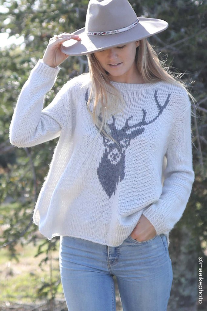 Women's Stag Crewneck Sweater's | Wooden Ships Knits