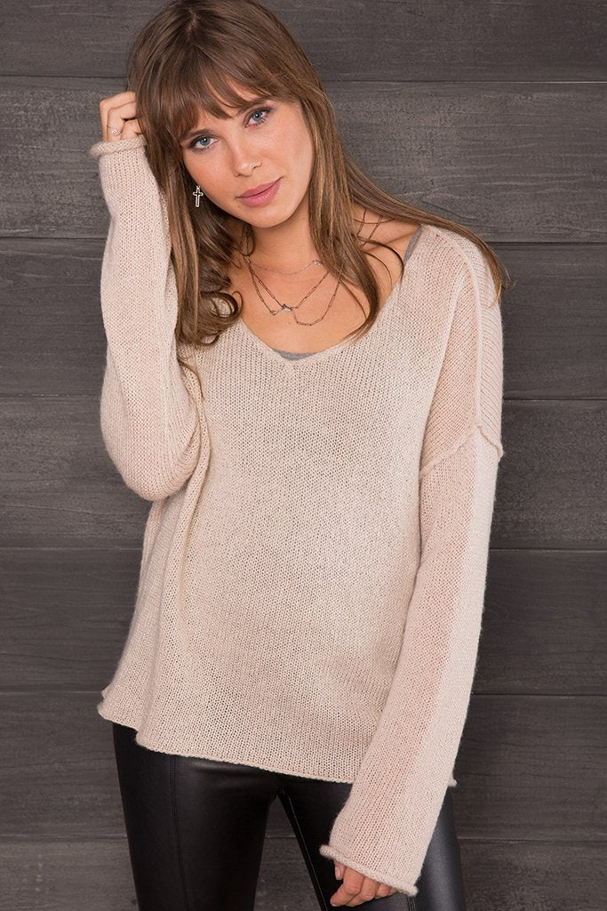 Women's Bella Back Seam V  Sweater's | Wooden Ships Knits