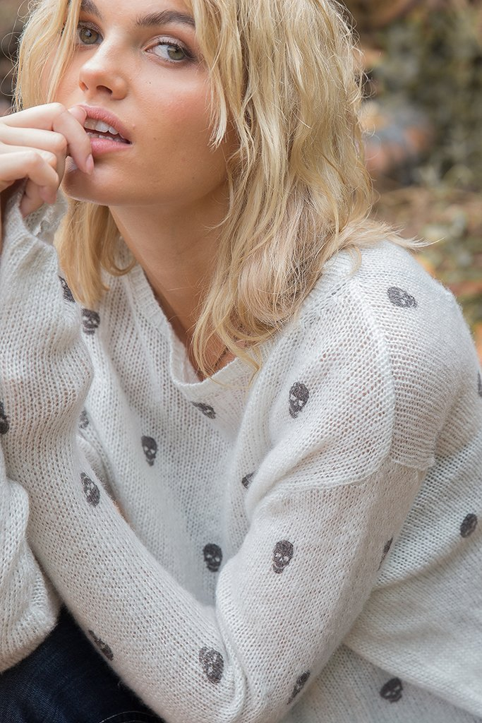 Women's Mini Skull Crewneck Sweater's | Wooden Ships Knits