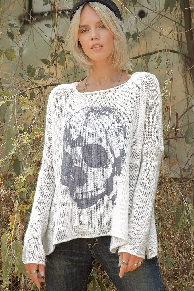 Women's Printed Skull Pullover Sweater's | Wooden Ships Knits