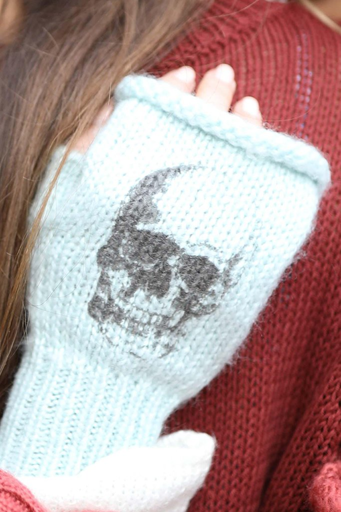 Women's Skull Printed Wristie Accessories | Wooden Ships Knits