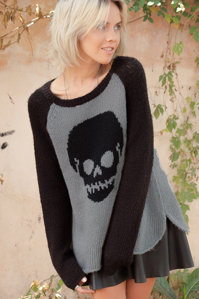 Women's Sporty Raglan Skull Sweater's | Wooden Ships Knits