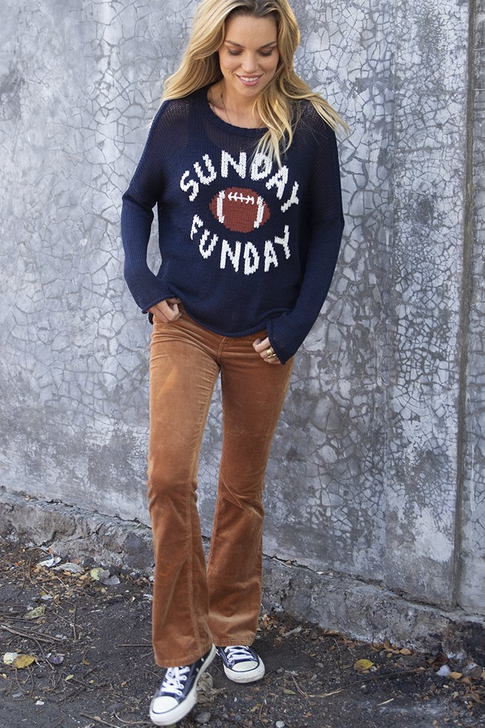 Women's Sunday Funday Crew Cotton Sweater's | Wooden Ships Knits