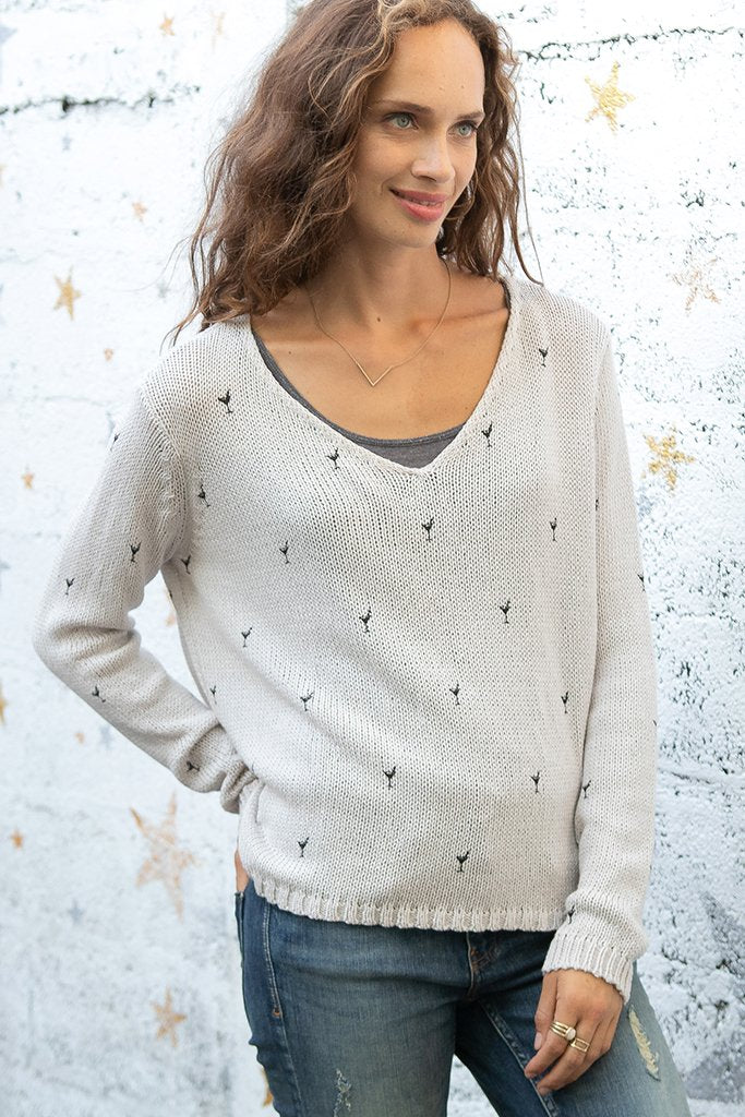 Women's Mini Martinis V Cotton Sweater's | Wooden Ships Knits
