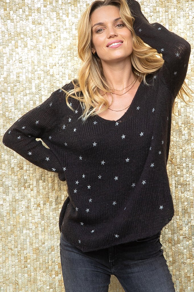Women's Mini Stars Metallic V Lightweight  Sweater's | Wooden Ships Knits