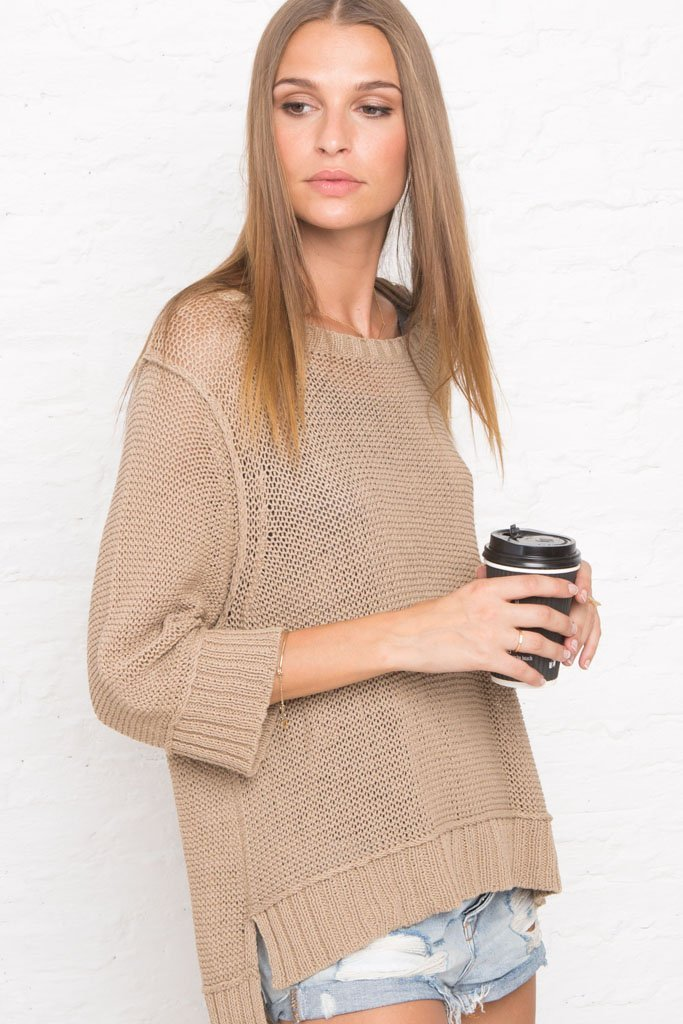 Women's Easy Peasy 3/4 Crewneck Cotton Sweater | Wooden Ships Knits