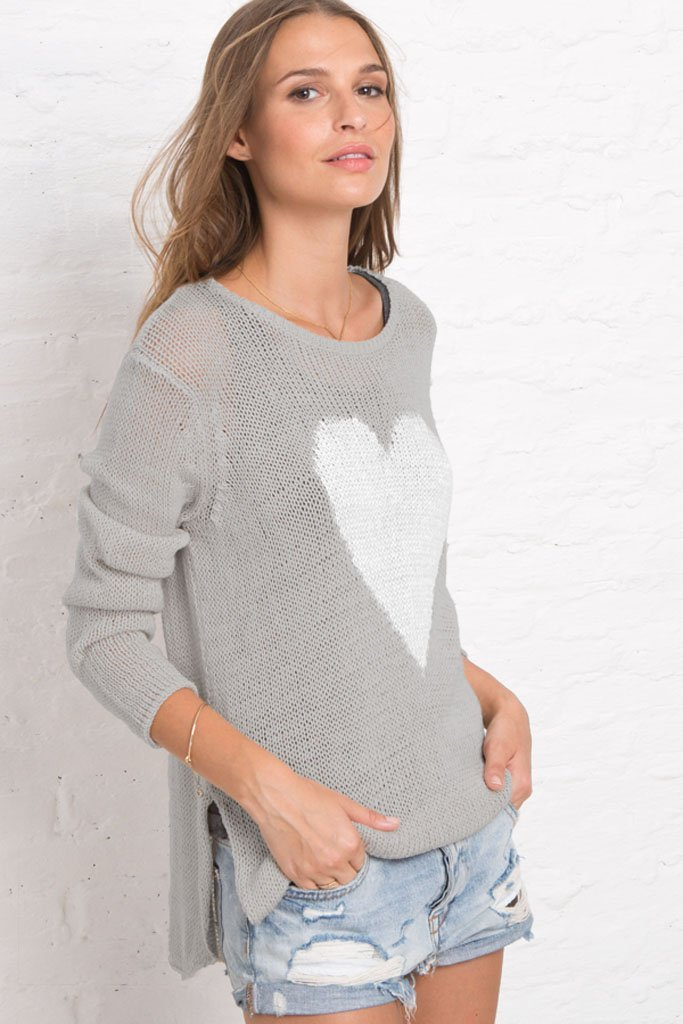 Women's Heart Crewneck Cotton Pullover Sweater | Wooden Ships Knits