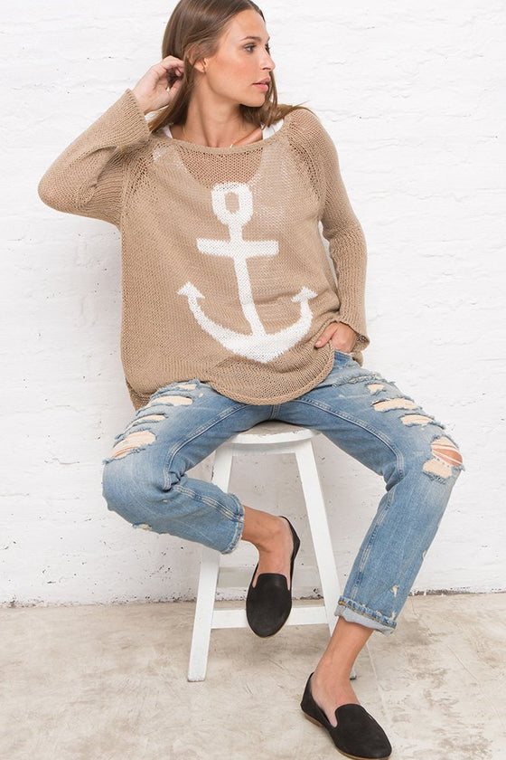 Women's Anchor Raglan Cotton Sweater | Wooden Ships Knits