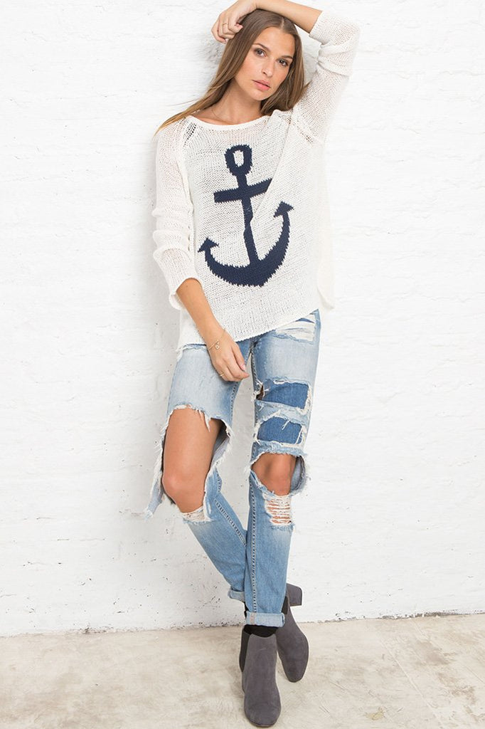 Women's Anchor Raglan Cotton Sweater's | Wooden Ships Knits