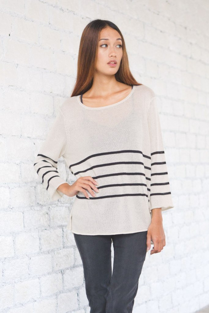 STRIPED CREWNECK COTTON MERCER