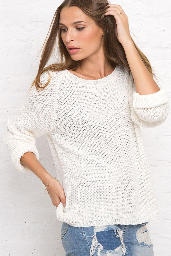 Women's Winslett Chunky Raglan Cotton Pullover Sweater | Wooden Ships Knits