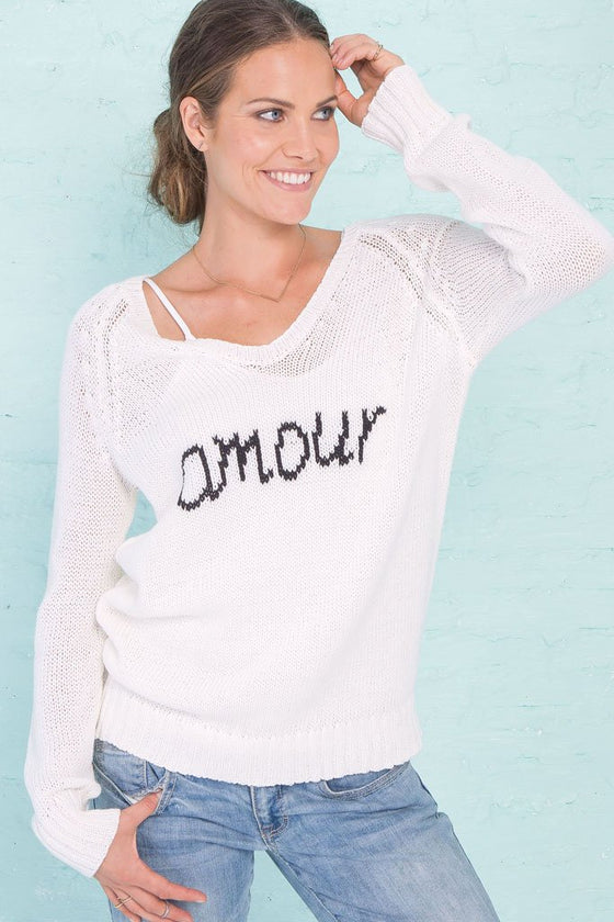 Women's Amour V-Neck Cotton Sweater | Wooden Ships Knits