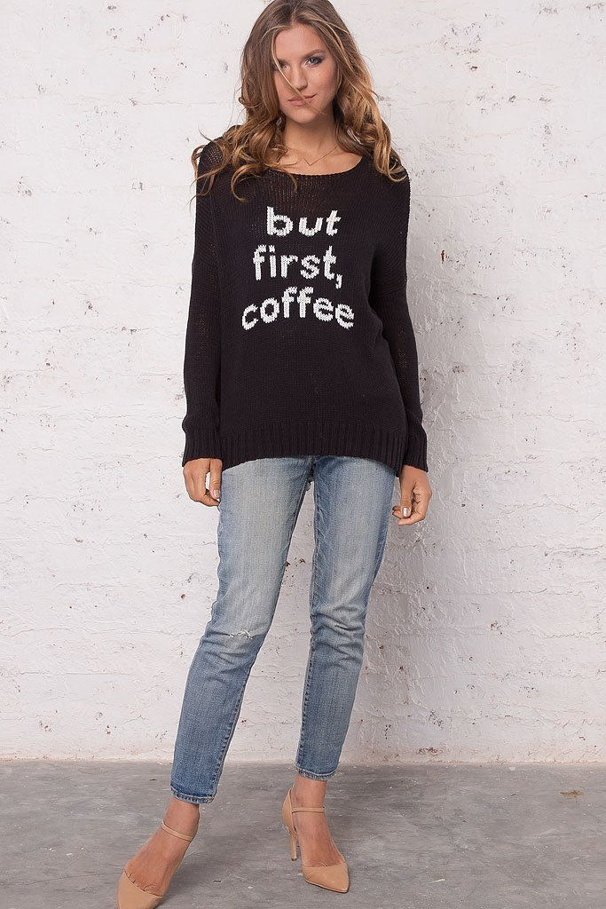 Women's But First Coffee Crewneck Cotton Sweater | Wooden Ships Knits