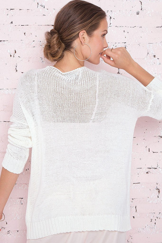 Women's But First Wine Crewneck Cotton Sweater | Wooden Ships Knits