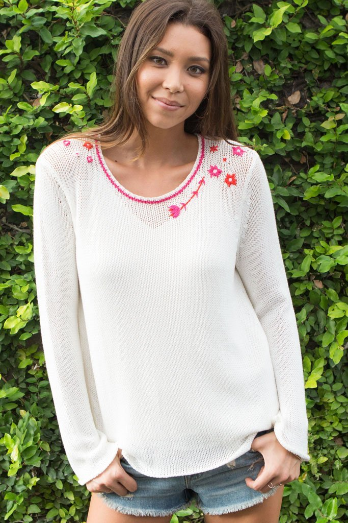 Women's Flower Power Crewneck Cotton Sweater | Wooden Ships Knits