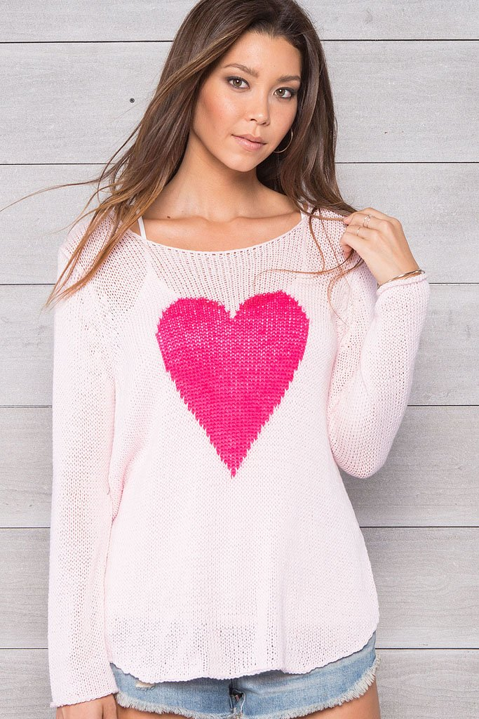 Women's Fuzzy Heart Crewneck Cotton Sweater | Wooden Ships Knits