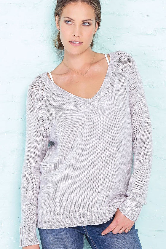 Women's Lexie Heathered Raglan Cotton Sweater | Wooden Ships Knits