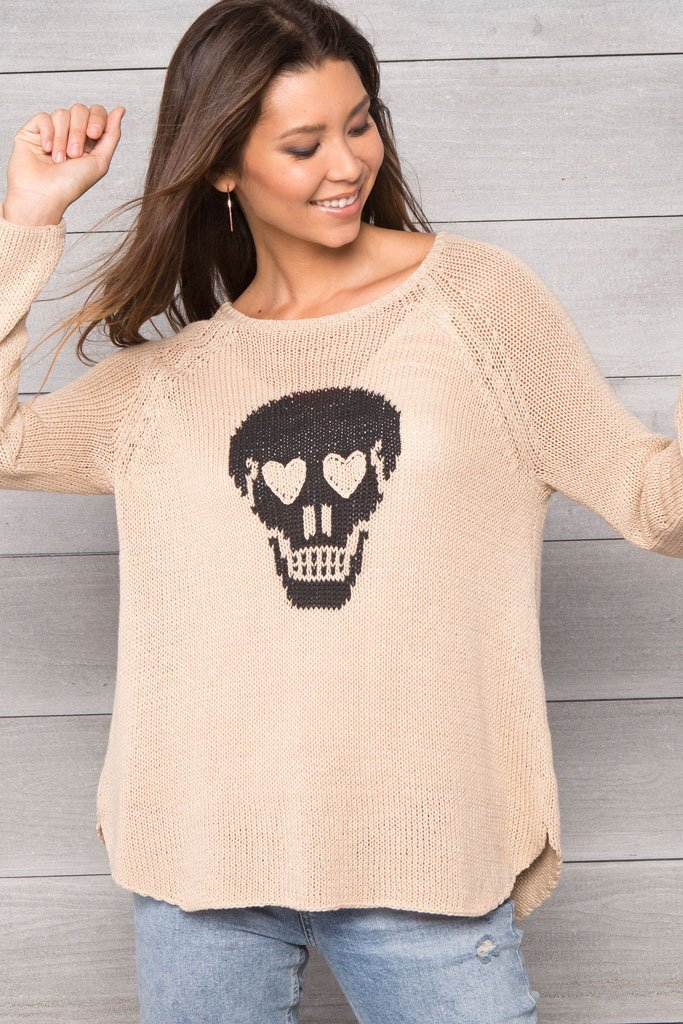 Women's Skull Raglan Cotton Pullover Sweater | Wooden Ships Knits