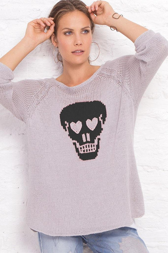 Women's Skull Raglan Cotton Sweater's | Wooden Ships Knits
