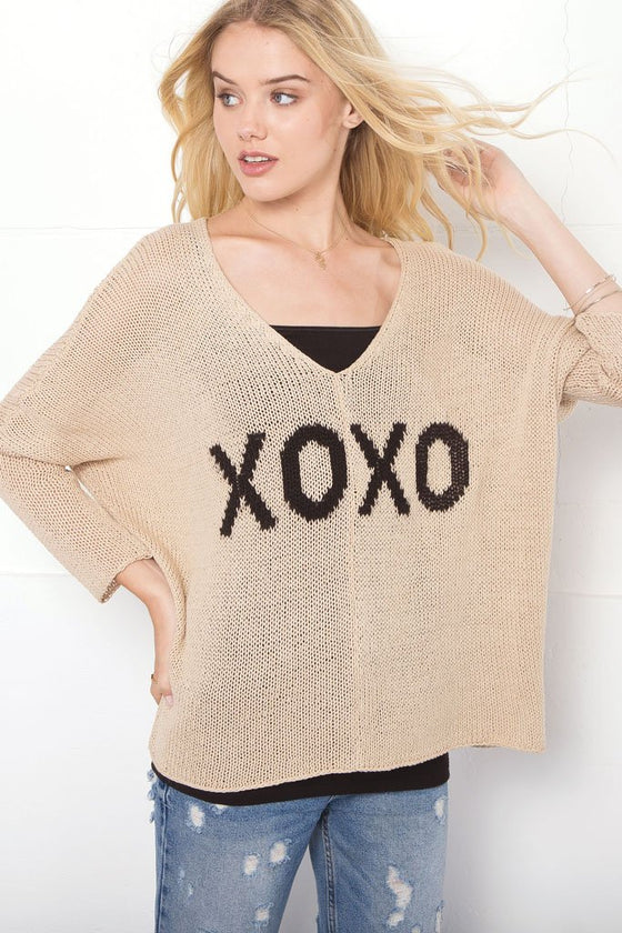 Women's Xoxo V-Neck Cotton Sweater | Wooden Ships Knits