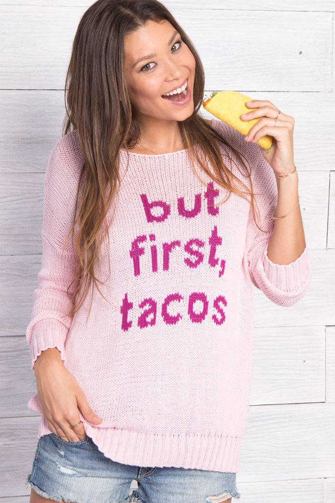 Women's But First Tacos Crewneck Cotton Sweater | Wooden Ships Knits