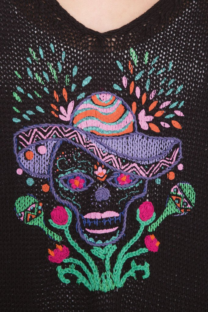 Women's Cinco De Mayo Skull  Cotton Sweater | Wooden Ships Knits