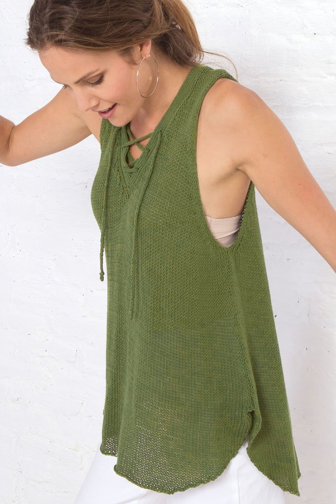 Women's Cara Laced Tank Cotton Sweater | Wooden Ships Knits