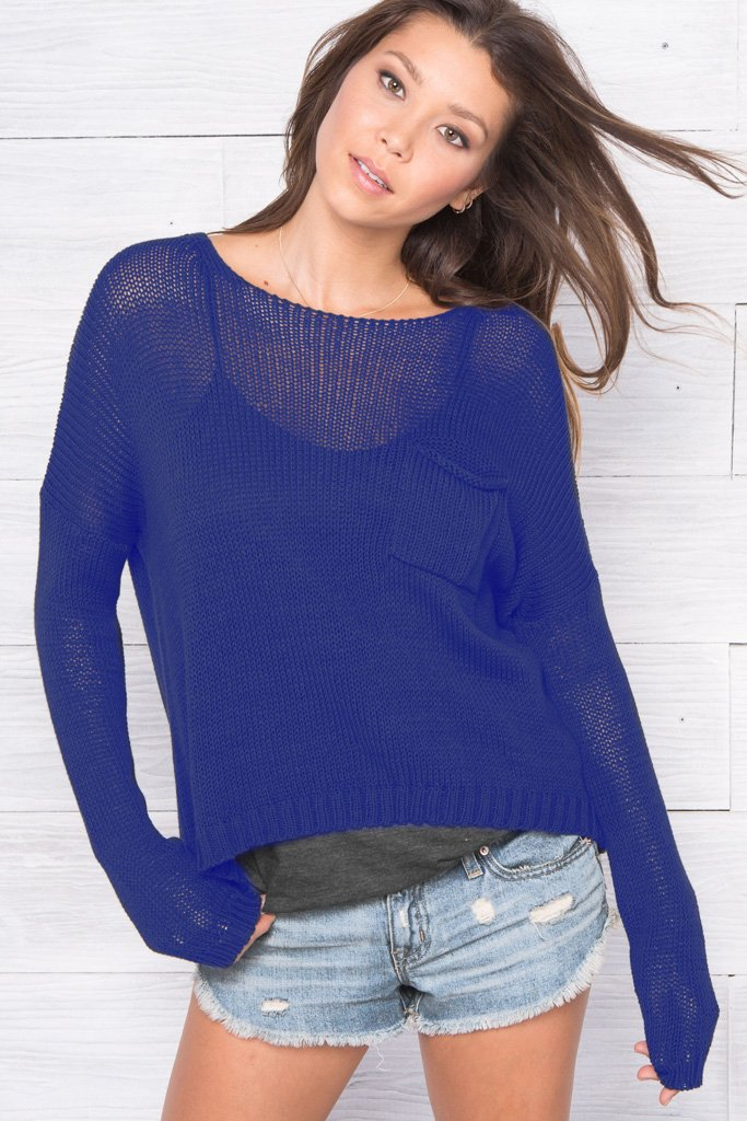 Women's Dean Pocket Crewneck Cotton Sweater's | Wooden Ships Knits